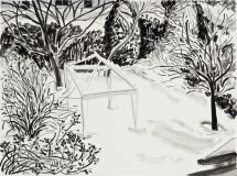 Vue du jardin, jour d'hiver